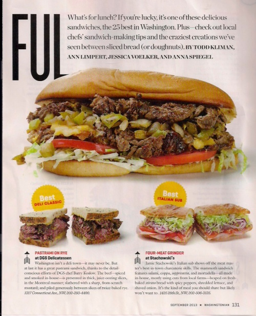 Washingtonian Sandwiches Page 1